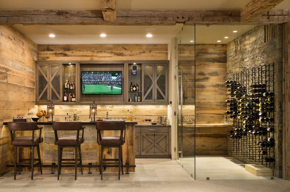 home bar setup with wine