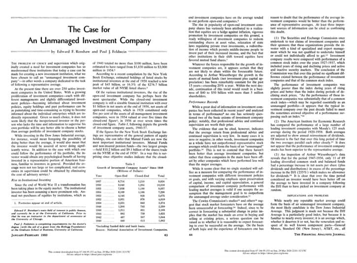 The case for an unmanaged investment company